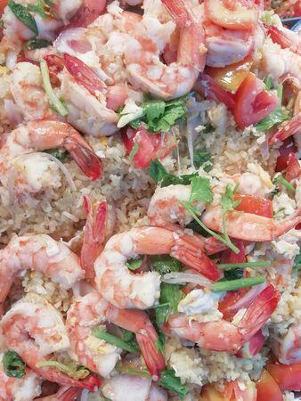 Shrimp fried rice as a vertical Banco de Imagens