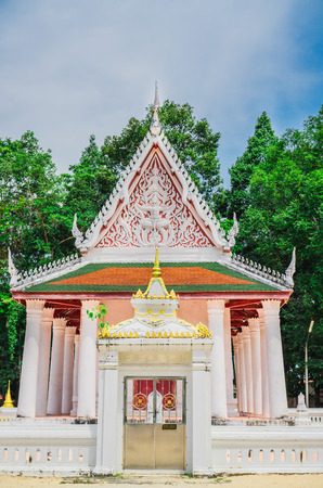 The white church in ancient temple in buddism. Stock Photo