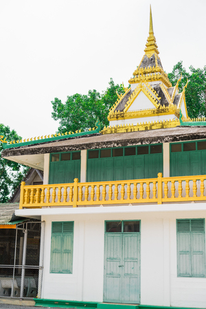 The building used to keep the tripitaka in the ancient temple in buddism. Stock Photo