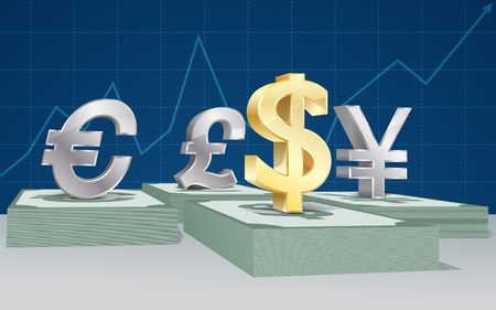 vector illustration 3D currency Sign on banknote with graph background Illusztráció