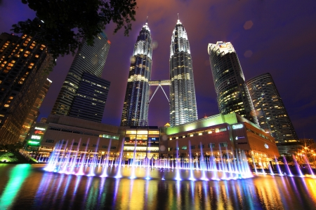 The Petronas Towers in Kuala Lumpur, Malaysia  Petronas are the tallest twin buildings in the world  451 9 m