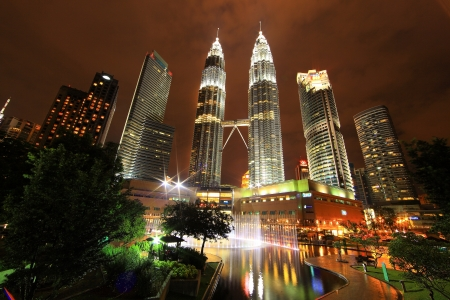 The Petronas Towers in Kuala Lumpur, Malaysia. Petronas are the tallest twin buildings in the world (451.9 m)