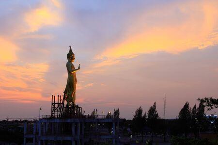 chachoengsao: Big buddha statue in sunset thailand