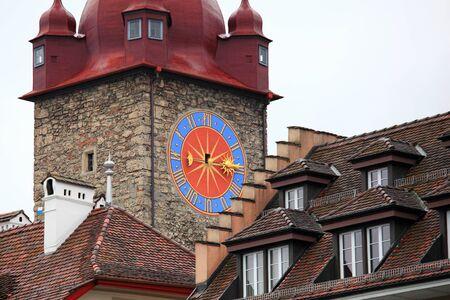 valsinni: Clock tower in lucerne, Switzerland
