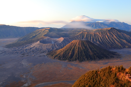 Bromo volcano at sunrise, Java, Surabaya, Indonesia photo