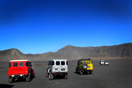EAST JAVA,INDONESIA-September 22   Tourists 4x4 for tourist rent at Mount Bromo,The active Mount Bromo is one of the most visited tourist attractions on September 22,2013 in East Java , Indonesia