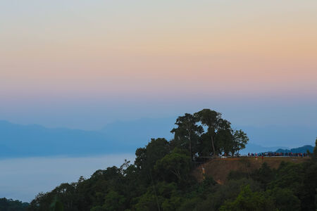 kaeng: The sea of fog with forests as foreground  This place is in the Kaeng Krachan national park, Thailand