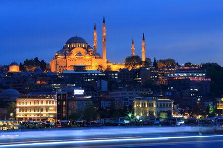Istanbul Suleymaniye Mosque at nighttime