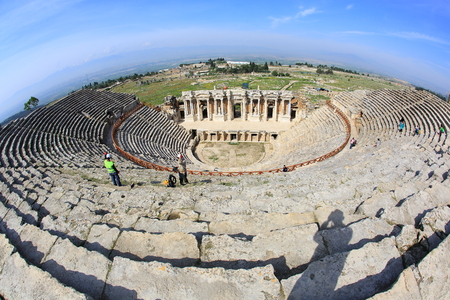 The ancient theater of the Roman city of Hierapolis in Pamukkale, Turkey. Stock Photo - 27986062