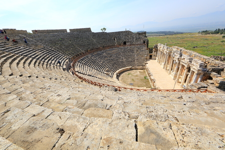The ancient theater of the Roman city of Hierapolis in Pamukkale, Turkey.