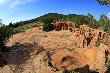 landslip: Lalu is natural wonders and has become a tourist attraction At Sa Kaeo province of Thailand. Stock Photo