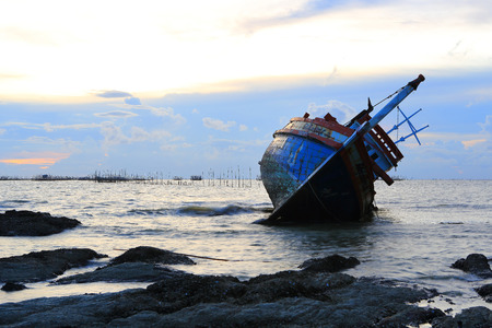 shipwreck in Angsila Chonburi, Thailand , seascape sunset