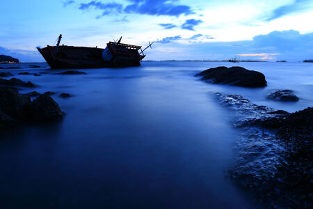shipwreck in Angsila Chonburi, Thailand , seascape sunset photo