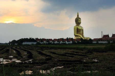 Buddha big statue at Wat Muang in Angthong, Thailand photo