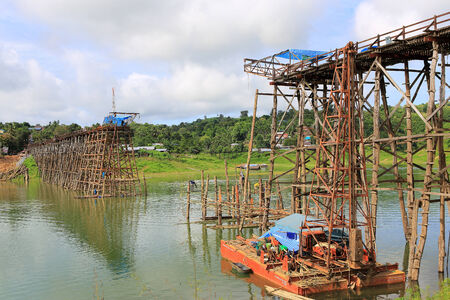 old wooden bridge Mon in Sangkhla Buri, province Kanchanaburi, Thailand