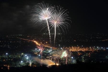 the royal park: Firework at Royal Park Rajapruek Chiangmai.