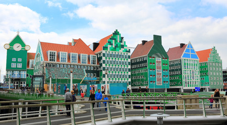 famous industries: ZAANDAM, NETHERLANDS - APR 19: Inntel Hotel on 19 Apr 2015 in Zaandam, NL. Opened in 2009, the design attracts guests by incorporating the traditional architecture of the Zaan region.
