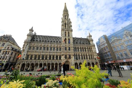 memorable: BELGIUM, BRUSSELS - April 17, 2015: Grand Place in Brussels with unidentified people. The square is the most important tourist destination and memorable landmark in Brussels Editorial