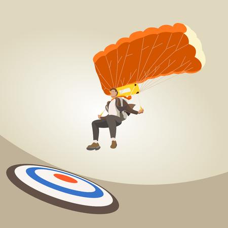 hombre de negocios Caída en paracaídas al objetivo.