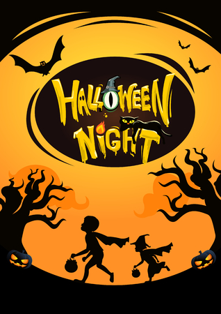 Happy halloween kids background silhouette and logo illustration