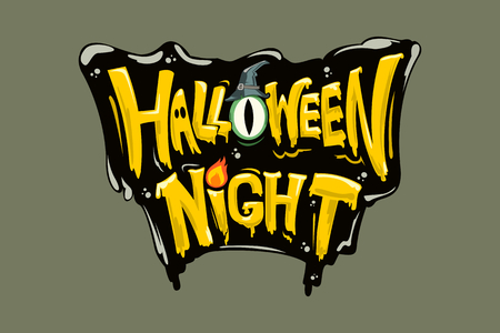 Happy Halloween vector lettering. Holiday calligraphy  for banner, poster, greeting card, party invitation. Isolated illustration.