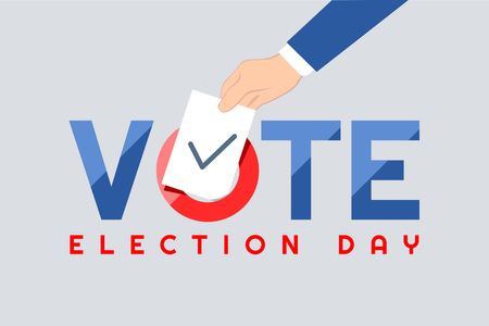 Presidentiële tekst verkiezingsdag symbolische elementen witte achtergrond.
