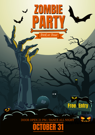 Halloween zombie hand party poster background template for Halloween party. Vector illustration.