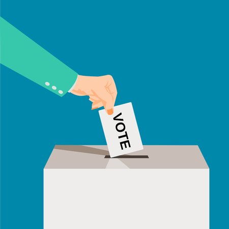 Suite Hand puts voting ballot in ballot box. Presidential Voting and election concept. Make a choice image. Vote illustration.