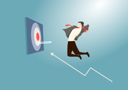 Focused business man jumping holding ball performing basketball hoop slam dunk and financial chart Graph. Achieving goals & success metaphor. Flat style vector illustration. Illustration