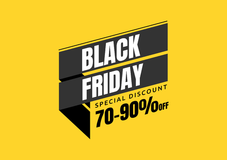 Black Friday sale design template. banner tag. Vector illustration.