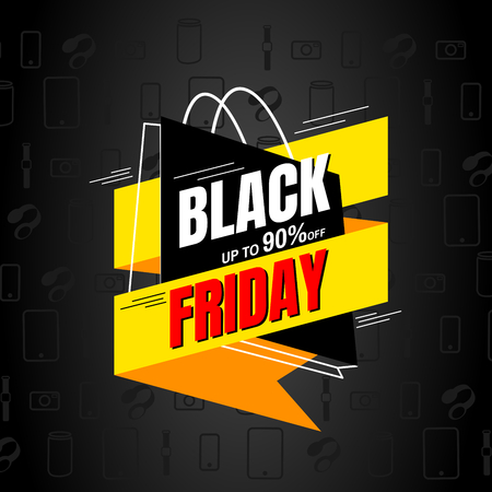 Black Friday sale design template.banner tag. Vector illustration. Stock Illustratie