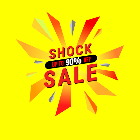 Shock sale design template. banner tag. Vector illustration.