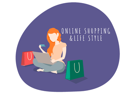 Woman life style character shopping online with laptop.shopping online and marketing.