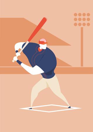 Baseball - Batter pose - IllustrationBaseball Player, Baseball Character design vector. Illustration
