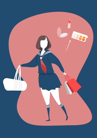 Cute japanese school girls uniform and Cosmetics bought by young girls.