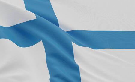 3D rendering Close up Flag Of Finland Background. Stok Fotoğraf