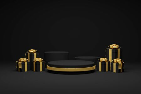 3d rendering Gift boxes and ribbon Dark podium background. Christmas and Happy new year Celebration.
