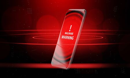 3d rendering Smartphone warning malware detect and virus alert wifi hotspot. Concept of Mobile Security Privacy App. Stock Photo