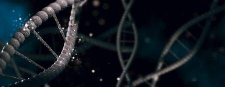DNA molecule spiral structures dark background. Biology, science and medical technology concept. 3D illustration