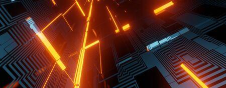 Sci-fi themes Neon Light hole Tunnel.