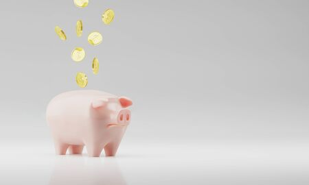 Realistic 3d rendering Pink Ceramics Piggy Bank and Floating Coins Isolated on White Background. Design Template of Money Pig for Graphics, Banners. Money, Financial, Savings,