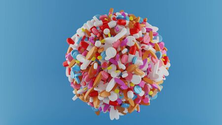 3d rendering sphere of multi colors pills on color back ground.