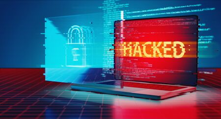 3D Rendering of hacked logo on laptop and lock icon hologram. Concept of privacy data being hacked and breached from internet technology threat. Stock Photo
