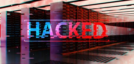 3d rendering TEXT hacked in server room. Concept of privacy data being hacked and breached from internet technology threat.
