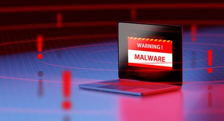 3d rendering of a 3d laptop Security warning detect malware and virus alert with wifi hotspot. concept of privacy data being hacked and breached from internet technology threat. Stock Photo - 133808833
