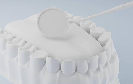 3d rendering White dental and dental mirror. Stock fotó