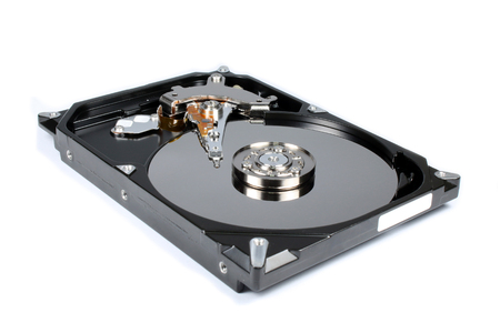Harddisk drive with top cover open isolated photo