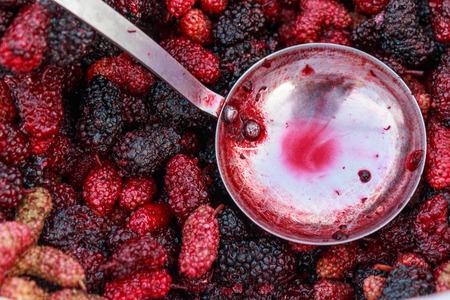 jarabe: Mulberry en Alm�bar con Cuchara