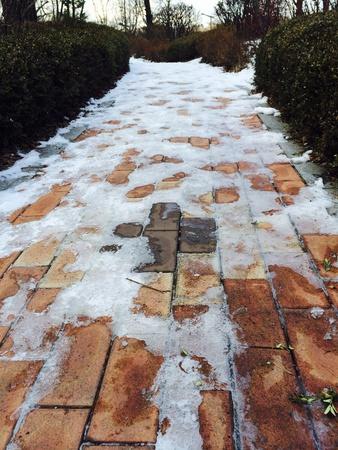 onto: Snow onto the Walkway
