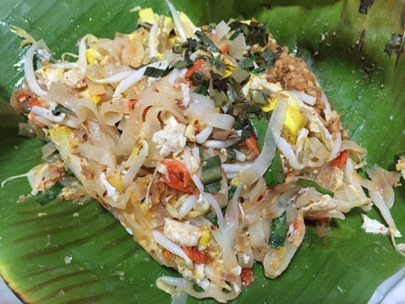 style: Thai Fried Noodles on The Banana leaf, Thai Food Style.